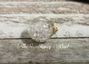 Glass Ball Charm Pendant with Clear Rhinestones Glass Globe Pendant Crystal Ball Charm Clear Ball Charm PREORDER