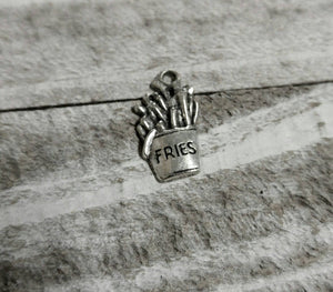 French Fry Charms French Fry Pendants Antiqued Silver Charms Quirky Charms Fast Food Charms Silver Pendants Food Pendants 10 pieces