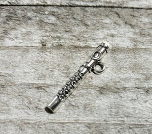 Flute Charms Flute Pendants Antiqued Silver Band Charms Marching Band Charms Instrument Charms 4 pieces 29mm
