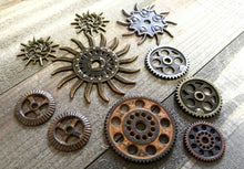 Load image into Gallery viewer, Clock Gears Clock Parts Clock Mechanism Brass Gears Rusty Metal Gears Steampunk Gears Assorted Gears 10 pieces PREORDER
