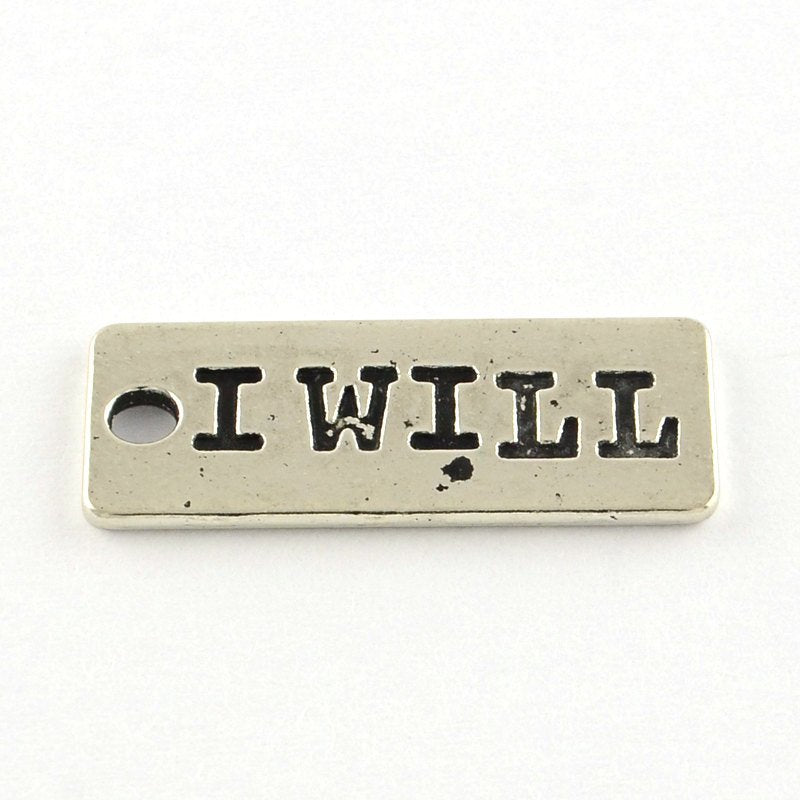 Quote Charms Word Charms Silver Word Charms I WILL Charm Motivational Charm Gym Charms Inspirational Charms 10 pieces