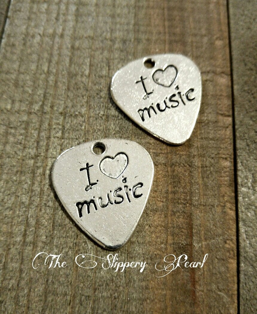 Guitar Pick Charm Guitar Pick Pendants Word Charms Quote Charms I Love Music Silver Guitar Pick Charms 4 pieces