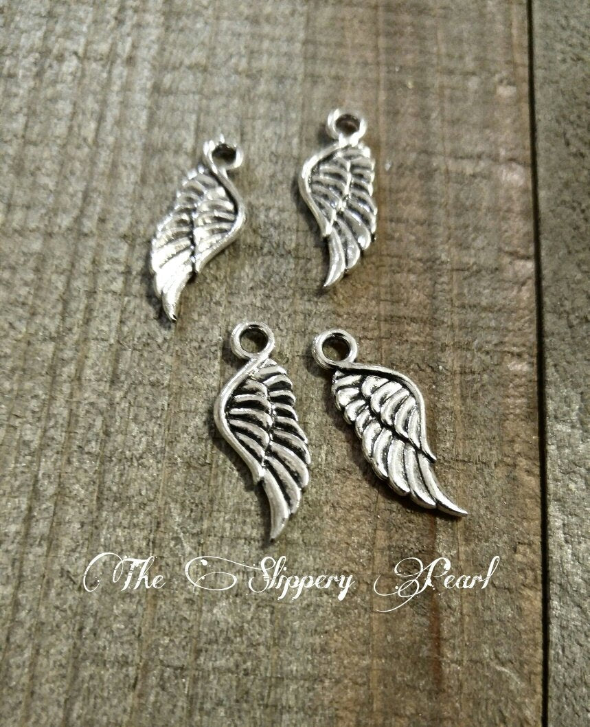 Angel Wing Charms Angel Wing Pendants Antiqued Silver Angel Wings 21mm Double Sided Wing Charms Pendants 10 pieces Wholesale Charms