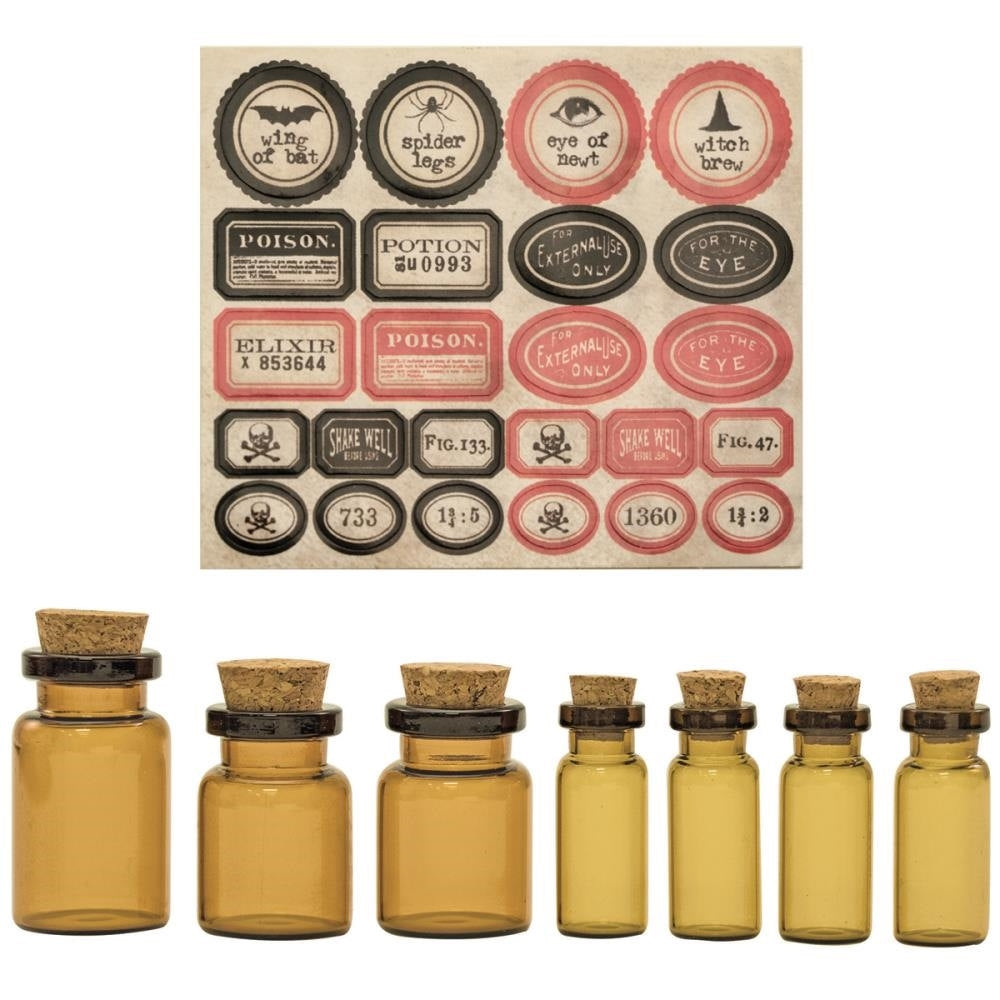 Glass Vials Brown Glass Vials with Corks Corked Vials Potion Vials Apothecary Vials with Labels
