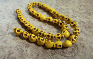 Skull Beads Yellow Skull Beads Yellow Beads Halloween Beads 9mm Beads 9mm Skull Beads Turquoise Beads Howlite Beads Bulk Beads Wholesale
