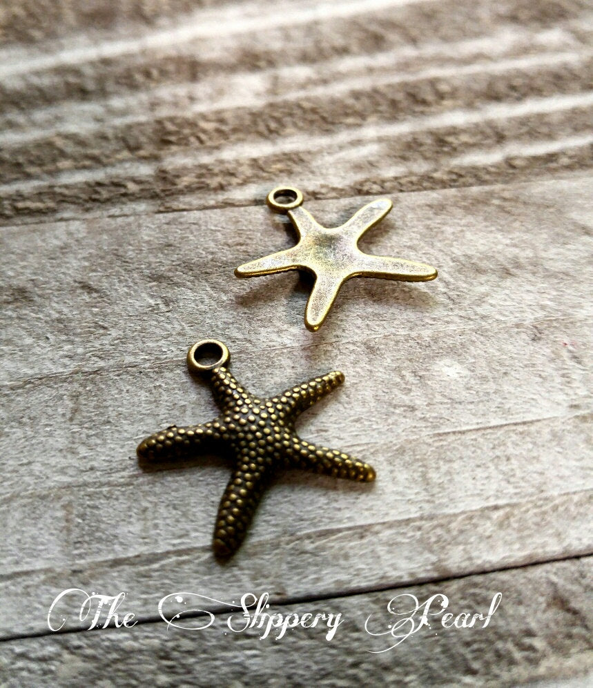 Starfish Charms Starfish Pendants Antiqued Bronze Starfish Charm Sea Life Charms Sea Charms Ocean Charms Nautical Charms 10 pieces 20mm