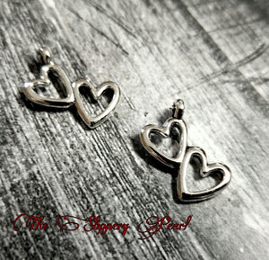 Double Heart Charm Heart Pendant Double Heart Charms Silver Double Heart Two Hearts Pendant Valentines Charms Love Charms