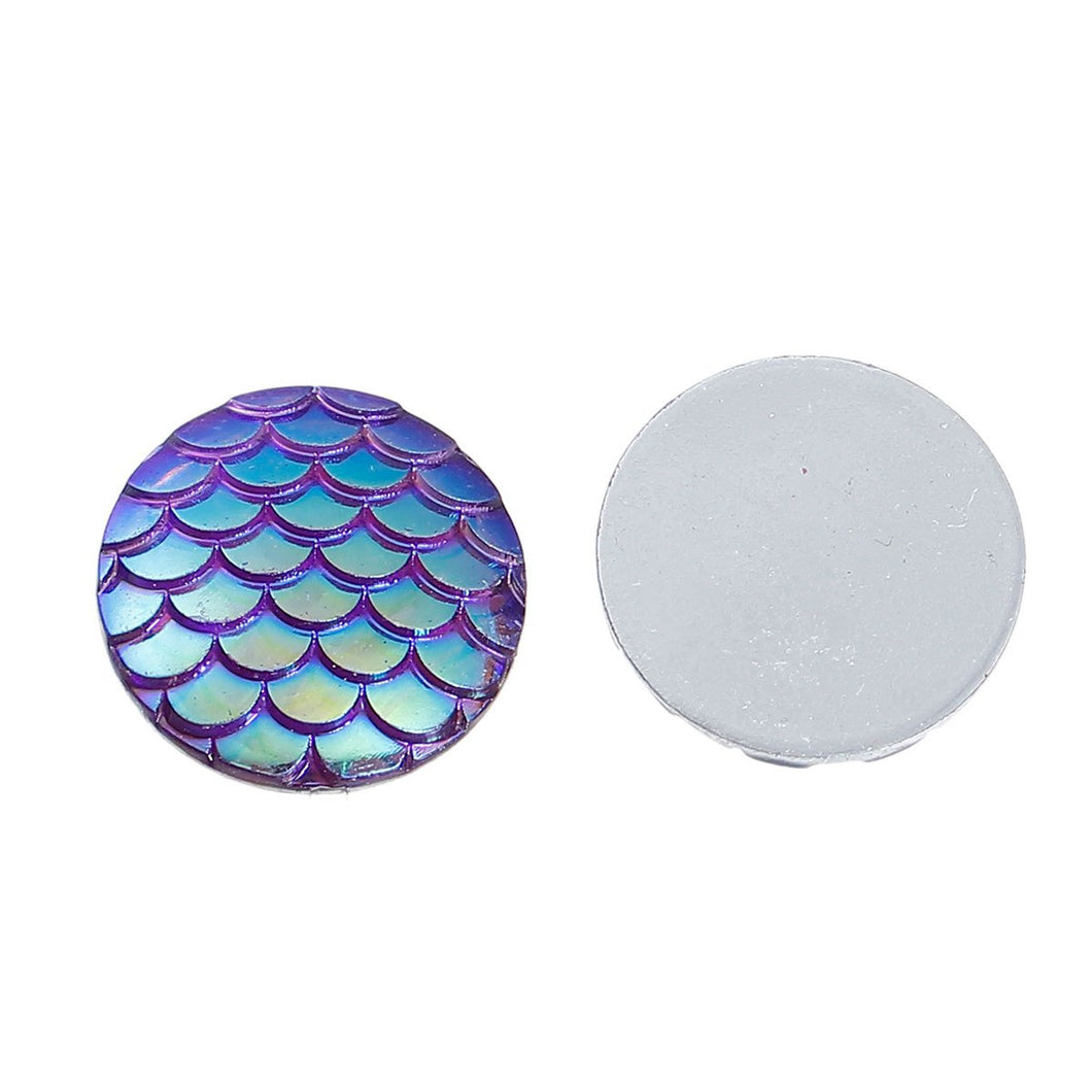 Mermaid Scale Cabochons 20mm Cabochons Purple Scales Round Cabochons Dragon Scale Cabochons Flat Back Embellishments 4 pieces