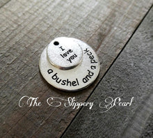 Load image into Gallery viewer, Quote Charms Quote Pendants Antiqued Silver Word Charms I Love You a Bushel and Peck Silver Word Pendants Silver Circle Charms *