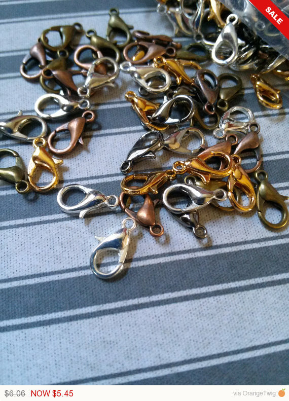 Lobster Clasps 12mm Lobster Clasps Silver Clasps Gold Clasps Copper Clasps 12mm Clasps Assorted Clasps Jewelry Making Findings Wholesale 100
