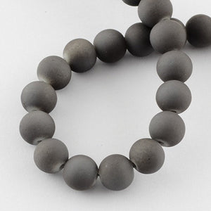 Gray Beads Rubberized Glass Beads 6mm Round Glass Beads Wholesale Beads Matte Gray Beads 6mm Beads 133 pieces