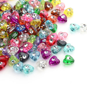 Acrylic Heart Beads Assorted Set Mixed Colors Metal Enlaced 8mm Sold per pkg of 50