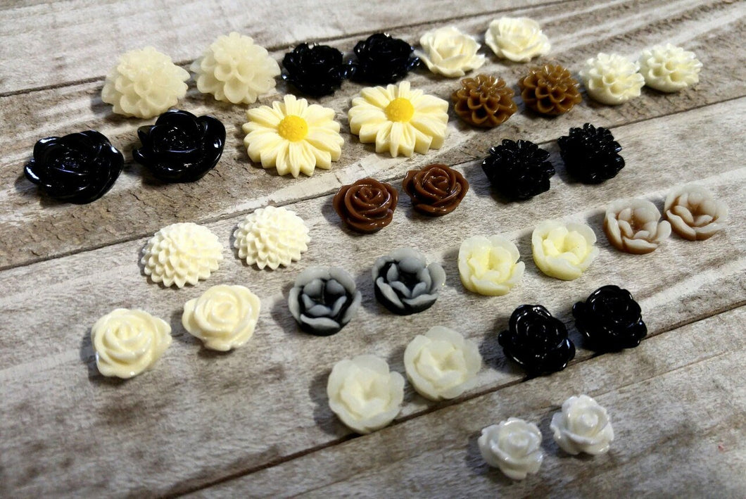 Flat Back Flowers Flower Cabochons Assorted Flower Flatbacks Flatback Flowers Resin Flower Cabochons BULK Flower Flatbacks Lot 24 pieces