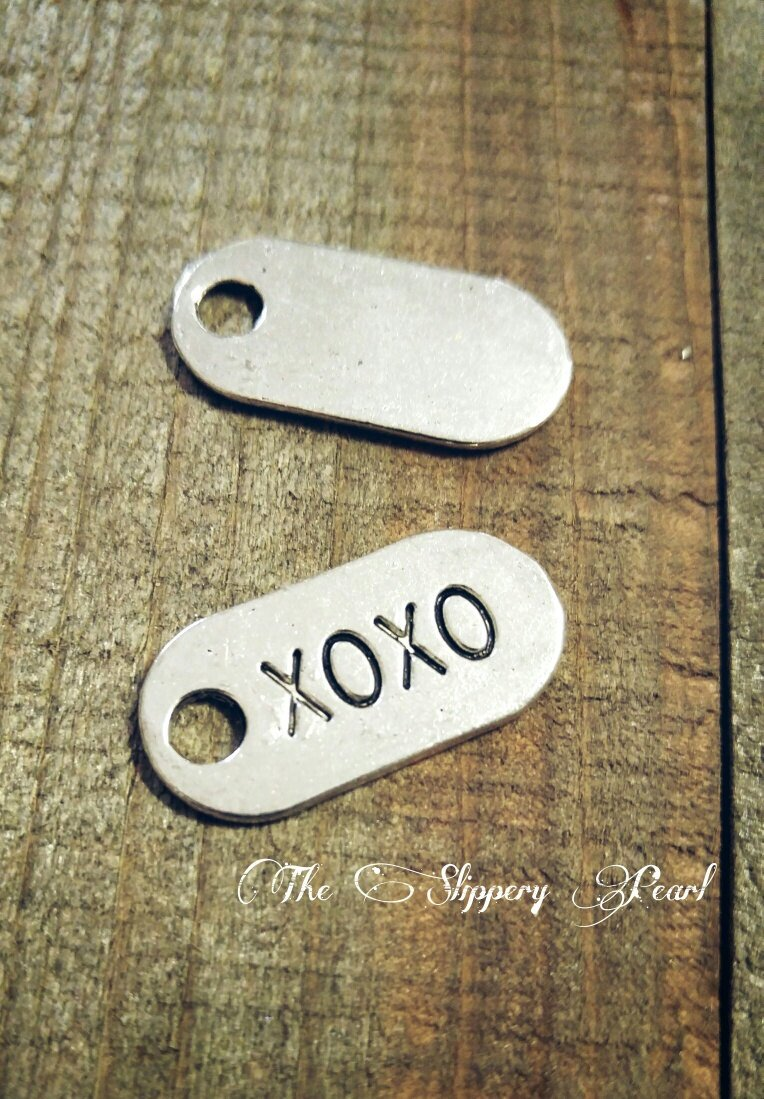 XOXO Charm XOXO Charms Word Charms Hugs and Kisses Charms Silver Charms Wholesale Charms Tag Charms Valentines Charms Love Charms 5pcs