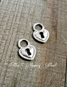 Silver Lock Charm Lock Charms Lock Pendant Heart Lock Charms Padlock Charms Antique Silver Lock 10 pieces
