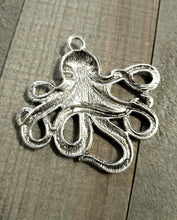 Load image into Gallery viewer, Large Octopus Pendant Octopus Charm Octopus Connector Pendant Large Focal Pendant Antiqued Silver Octopus Kraken Nautical Pendant 57mm