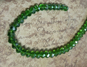 Shimmering Green Glass Abacus Beads Rondelles 8mm x 6mm Sold per pkg of 15