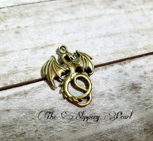Load image into Gallery viewer, Dragon Pendant Dragon Charm Bronze Dragon Charm Fairy Tale Charm Fairy Tale Pendant Mythical Charm Fairytale Charm Mythical Pendant