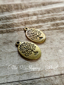 Tree of Life Charms Tree Pendants Antiqued Bronze Tree of Life Oval Tree Pendants Stamped Tree 10pcs
