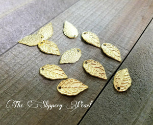 Leaf Charms Gold Leaf Charms Leaf Pendants Gold Leaves Gold Leaf Pendant BULK Charms Wholesale Charms Gold Charms 20 pieces