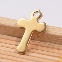 Load image into Gallery viewer, Cross Charm Gold Cross Charm Steel Cross Charm Gold Charm Christian Cross Catholic Cross Religious Charm Church Charm 1 piece