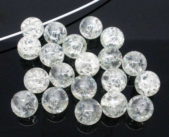 Clear Beads Crackle Beads Glass Beads 10mm Glass Beads Glass Crackle Beads Wholesale Beads 10mm Beads 10mm Clear Beads 20 pieces