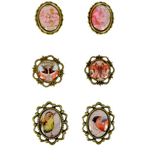 Framed Cabochons Bird Cabochons Assorted Lot Bronze Frame Flatbacks Self Adhesive Picture Ovals CLEARANCE was 6.28