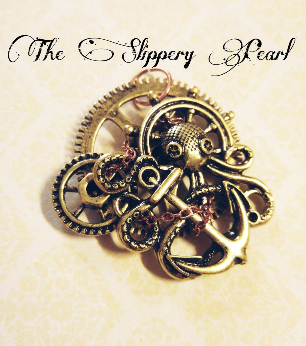 Large Octopus Pendant Octopus Charm Steampunk Octopus Large Octopus Charm Gold Octopus Metal Octopus Kraken Pendant Gold Pendant Gear