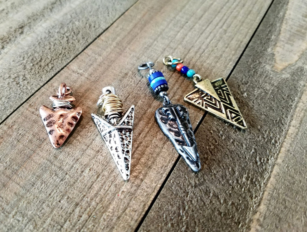 Arrowhead Pendants Arrowhead Charms Set Verdigris Patina Pendants Western Charms Arrow head Charms Assorted Charms Silver Copper Bronze *