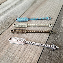 Load image into Gallery viewer, Arrow Pendant Connectors Arrow Pendants Assorted Charms Arrow Charms Patina Charms Verdigris Charms Mixed Set of 4 PREORDER