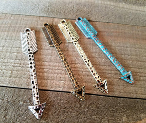Arrow Pendant Connectors Arrow Pendants Assorted Charms Arrow Charms Patina Charms Verdigris Charms Mixed Set of 4 PREORDER