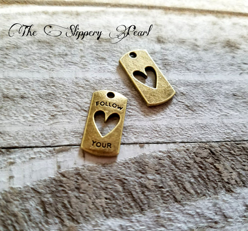 Quote Charms Word Charms Bronze Word Charms Follow Your Heart Word Pendants Inspirational Charms Message Charms 5 pieces