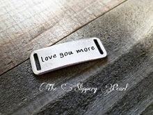 Load image into Gallery viewer, Quote Connector Pendant Word Pendant Link LOVE YOU MORE Pendant Antiqued Silver Word Pendant Link