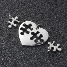 Load image into Gallery viewer, Puzzle Piece Charms Puzzle Pendants Puzzle Heart Charms Heart Pendants Friendship Charms Love Charms Silver Heart Charms Austim Awareness A