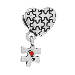 European Bead Large Hole Bead Metal Bead Autism Awareness Bead Thick Bead Silver Heart Bead Puzzle Piece Bead CLEARANCE was 4.15