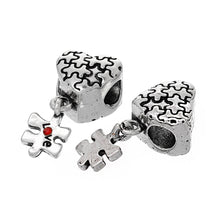 Load image into Gallery viewer, European Bead Large Hole Bead Metal Bead Autism Awareness Bead Thick Bead Silver Heart Bead Puzzle Piece Bead CLEARANCE was 4.15