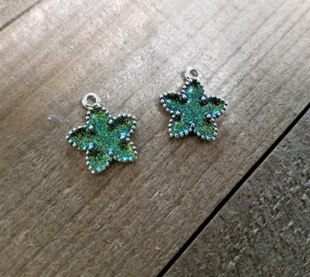 Star Pendants Silver Star Pendants Glitter Pendants Silver Star Charms Glitter Charms Sparkly Charms Green Star Charms Green Charms 2 pieces