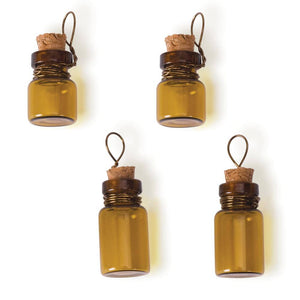 Glass Vials Brown Glass Vials Corked Vials Brown Bottles Glass Vial Charms Vial Pendants Bottle Charms Amber Glass Bottles 4 pack