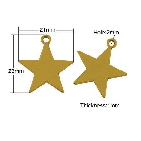 Star Charms Star Pendants Gold Star Charms Metal Stamping Blanks Blank Charms Hand Stamping Blank 10 pieces