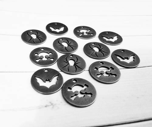 Halloween Charms Silver Charms Token Charms Tag Charms Bat Charms Spider Charms Skull Charms Halloween Tags Silver Pendants 12 pieces *