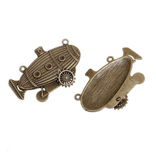 Load image into Gallery viewer, Submarine Charm Blimp Charm Steampunk Charm Steampunk Blimp Bronze Charm Bronze Pendant Connector Pendant