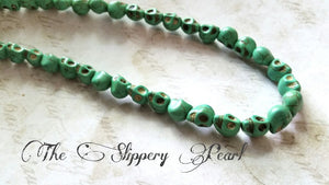 Skull Beads Green Skull Beads Halloween Beads Turquoise Beads Howlite Beads 9mm Beads 9mm Skull Beads Wholesale Beads Seafoam Green Beads