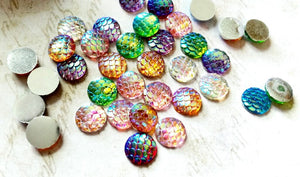 Mermaid Scale Cabochons 12mm Cabochons Assorted Lot Domed Flatbacks Round Cabochons Dragon Scale Cabochons Flat Back Embellishments 6 pieces