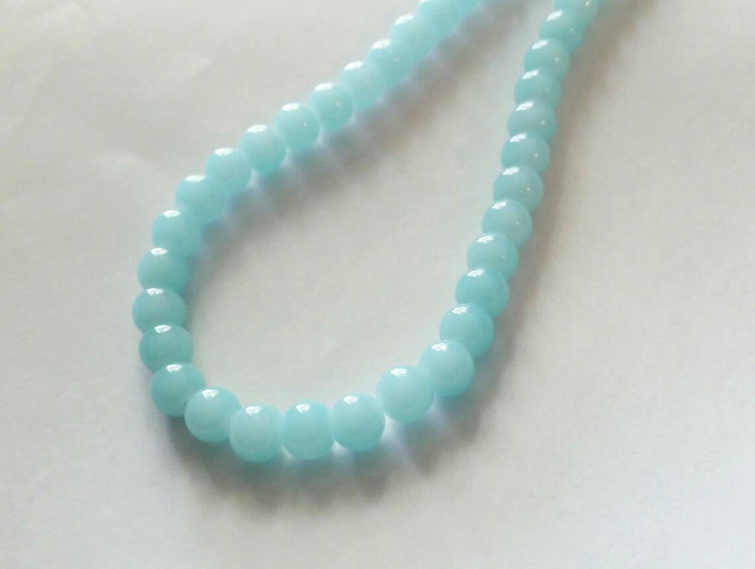 Mint Blue Beads Mint Beads 8mm Glass Beads 8mm Beads Jelly Beads Wholesale Beads BULK Beads Double Strand 106 pieces
