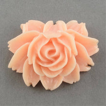 Load image into Gallery viewer, Flower Cabochons Lotus Flower Flatback Flat Back Flower Resin Flower Cabochon Pink Lotus Flower Large Flower Flatback Lotus Cabochons 2pcs