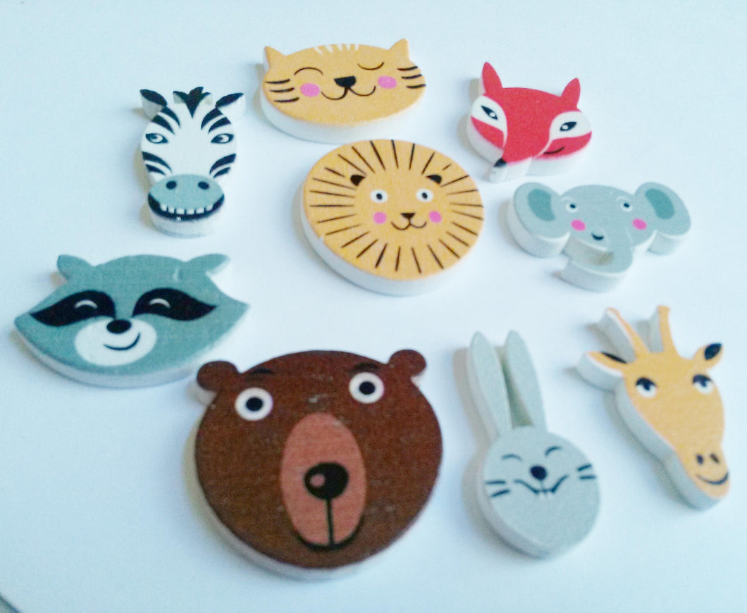 Wood Cabochons Laser Cut Wood Animal Cabochons Flat Backs Wild Animal Embellishments Assorted Lot 5 pieces