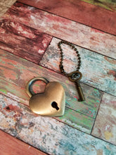 Load image into Gallery viewer, Lock and Key Pendant Heart Lock Pendant Real Lock Pendant Padlock Key to My Heart Pendant Set