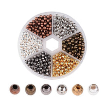 Load image into Gallery viewer, Metal Spacer Beads Spacers Round Spacer Beads Ball Spacer Beads 3mm Beads 3mm Spacer Beads Assorted Beads BULK Beads Wholesale Beads 480 PRE