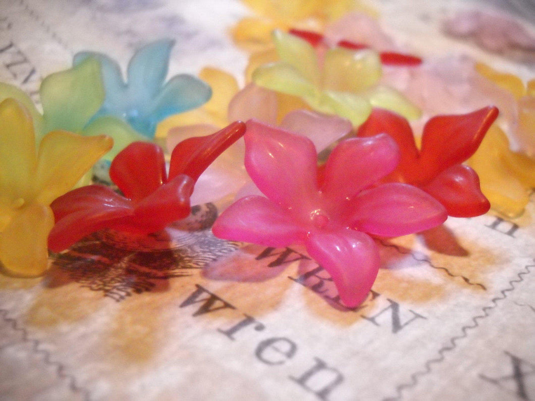 Large Acrylic Flower Beads Hibiscus Assorted Set Frosted 29mm Mix Sold per pkg of 10