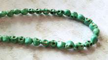 Load image into Gallery viewer, Skull Beads Green Skull Beads Halloween Beads Turquoise Beads Howlite Beads 9mm Beads 9mm Skull Beads Wholesale Beads Seafoam Green Beads